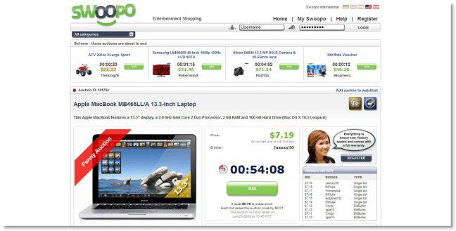 Swoopo, for ridiculously low prices